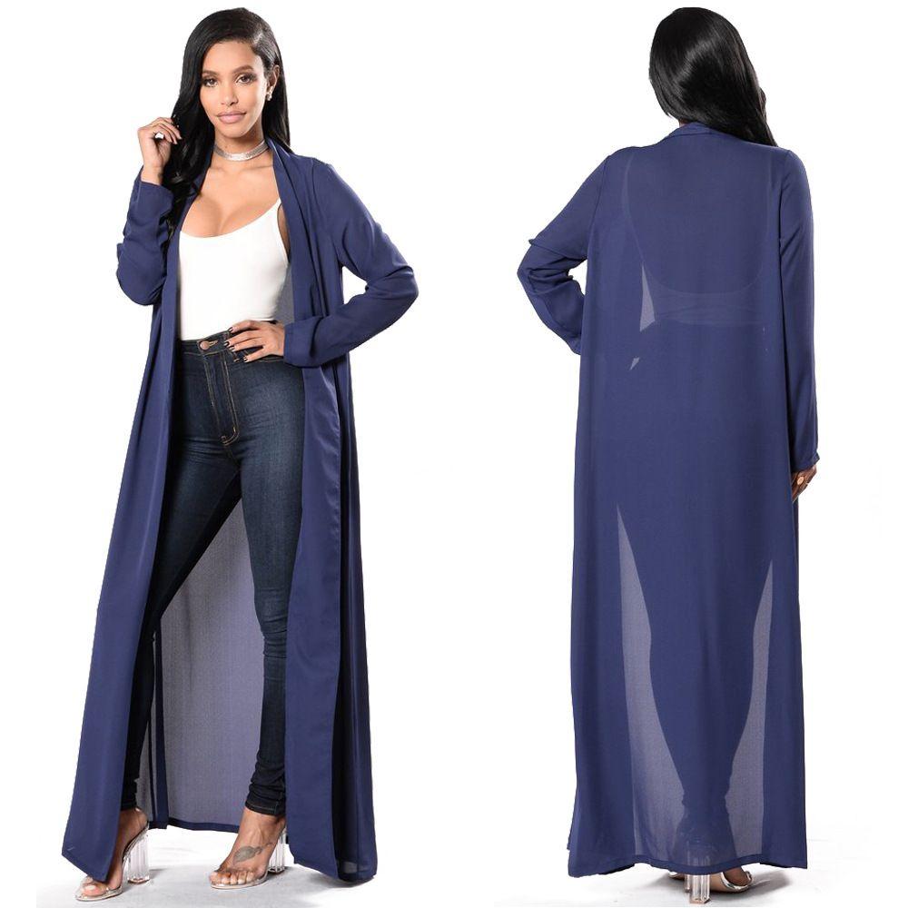 new fashion women long sleeve maxi dress summer buttons shawl