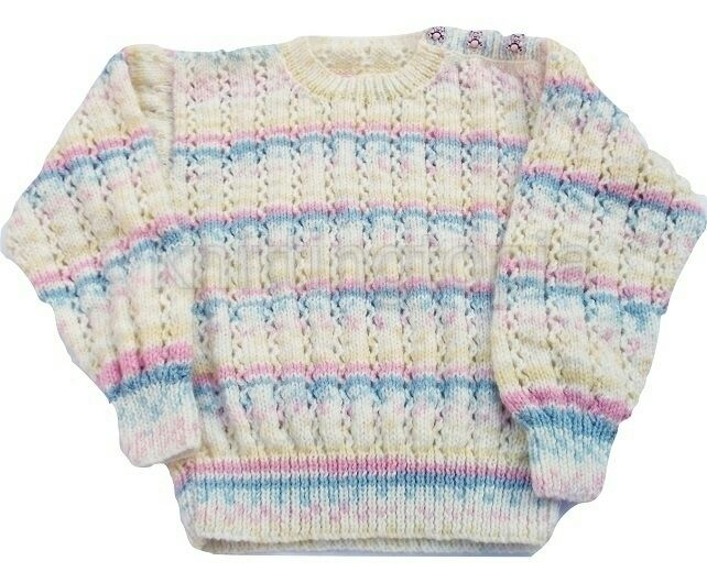 e82f9a325afb Hand knitted baby girls stripy jumper 2 - 3 years 26 inch chest ...