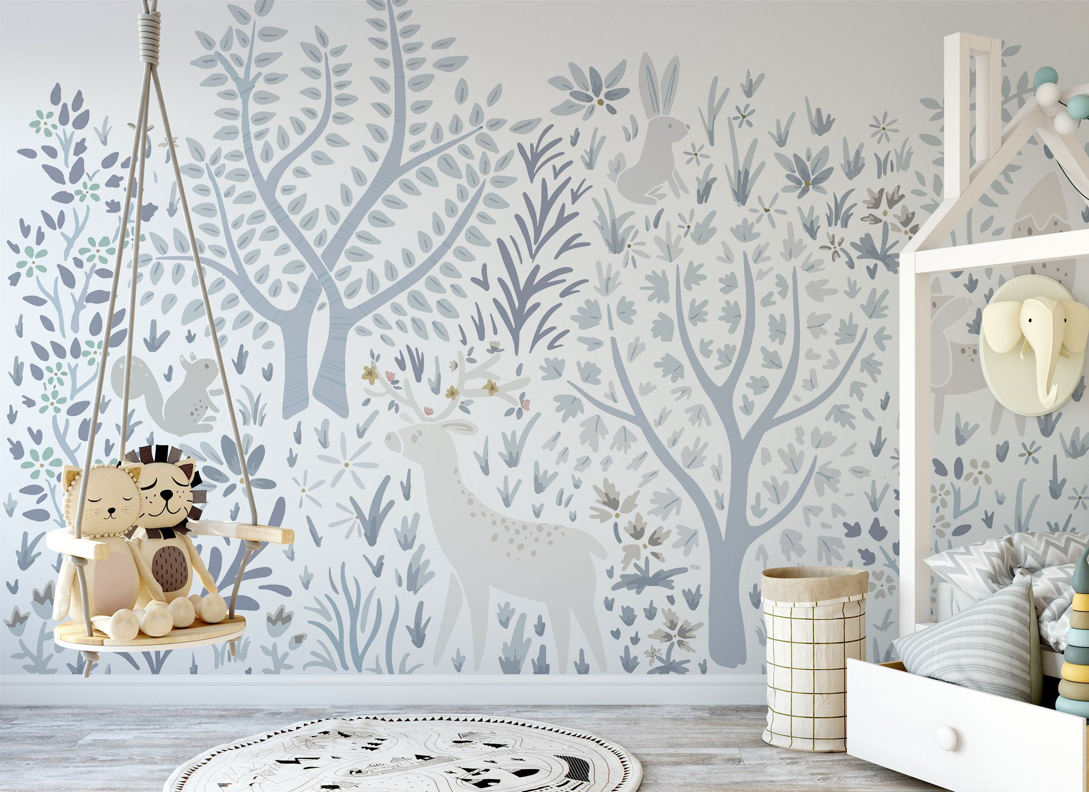 Woodland Forest Wall Mural On White 520 Forest Wall Mural Nursery Wallpaper Wall Murals