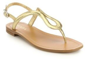 51a1763aa9d9 Prada Gold Metallic Leather Thong Sandals as seen on Miranda Kerr