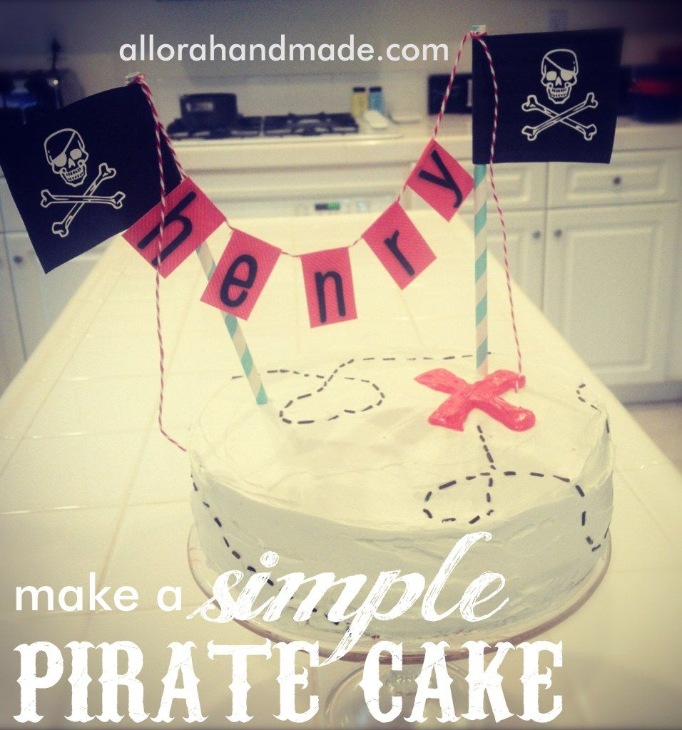 simple pirate party cake