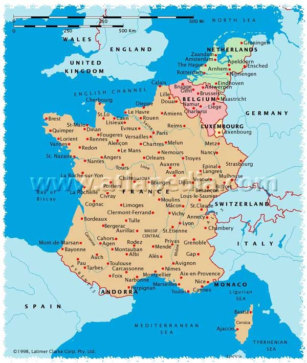 Map Of France And Luxembourg.Political Map Of France Monaco Luxembourg Belgium Netherlands