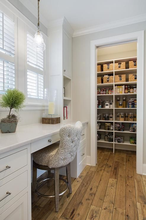 Best Long And Narrow Kitchen Pantry Features A Built In Desk 400 x 300