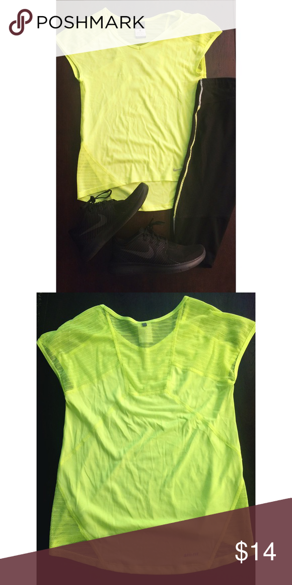 Nike Neon Dri Fit Workout Tee with Mesh Detail Size XS - fits up to a Small - Never Worn - Brand New - Neon Green - Super cute, mesh on the back for breathability. 💪🏻👌🏻 • No Trades • Nike Tops Tees - Short Sleeve