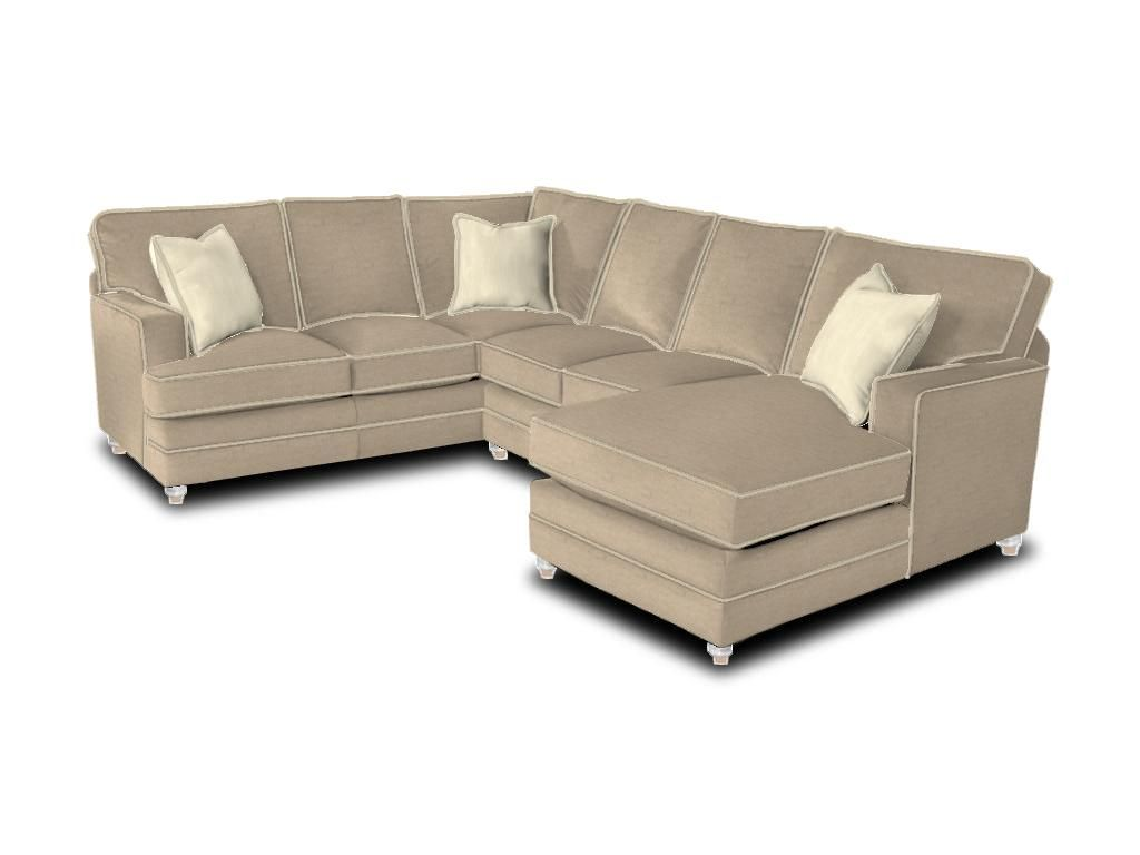 neutral sofa from Bassett furnite  L shaped sectional large  natural fabric, track arm, boxed edge semi attached back, turned leg with antique brass tip, linen contrast welt, walnut finish, herringbone ivory accent pillows