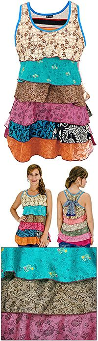 Recycled Sari Layered Tunic at The Breast Cancer Site