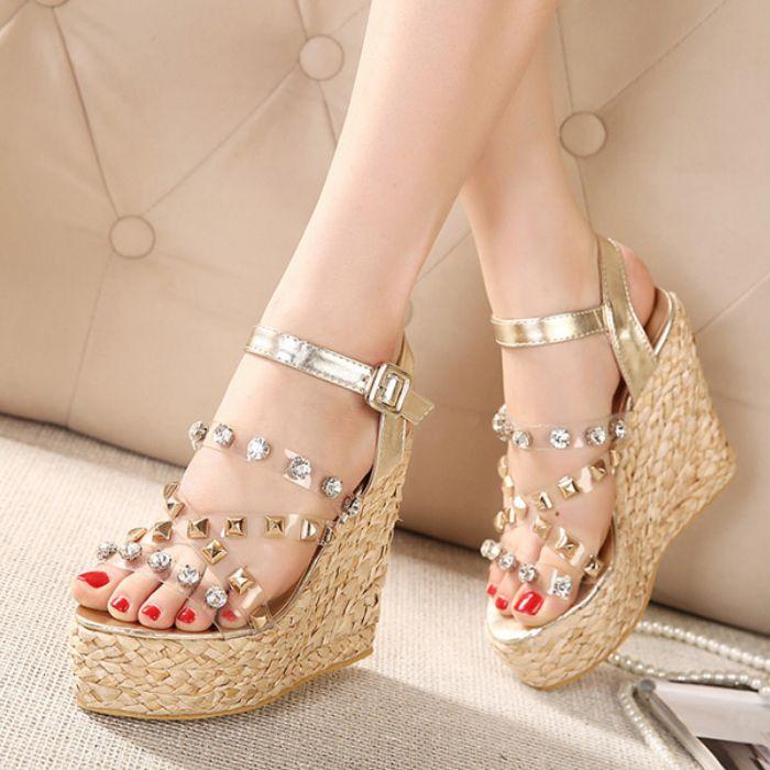 Sapato Women 2015 Summer Wedges Platform Sandals Bohemia Style Gold Silver  Peep Toe Shoe Rivets Rhinestone