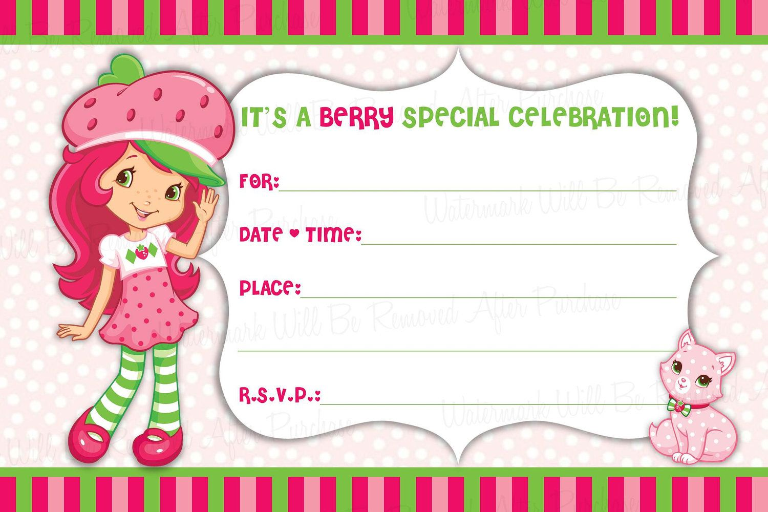 17 Best images about Strawberry Shortcake Birthday Party – Strawberry Shortcake Birthday Invitations
