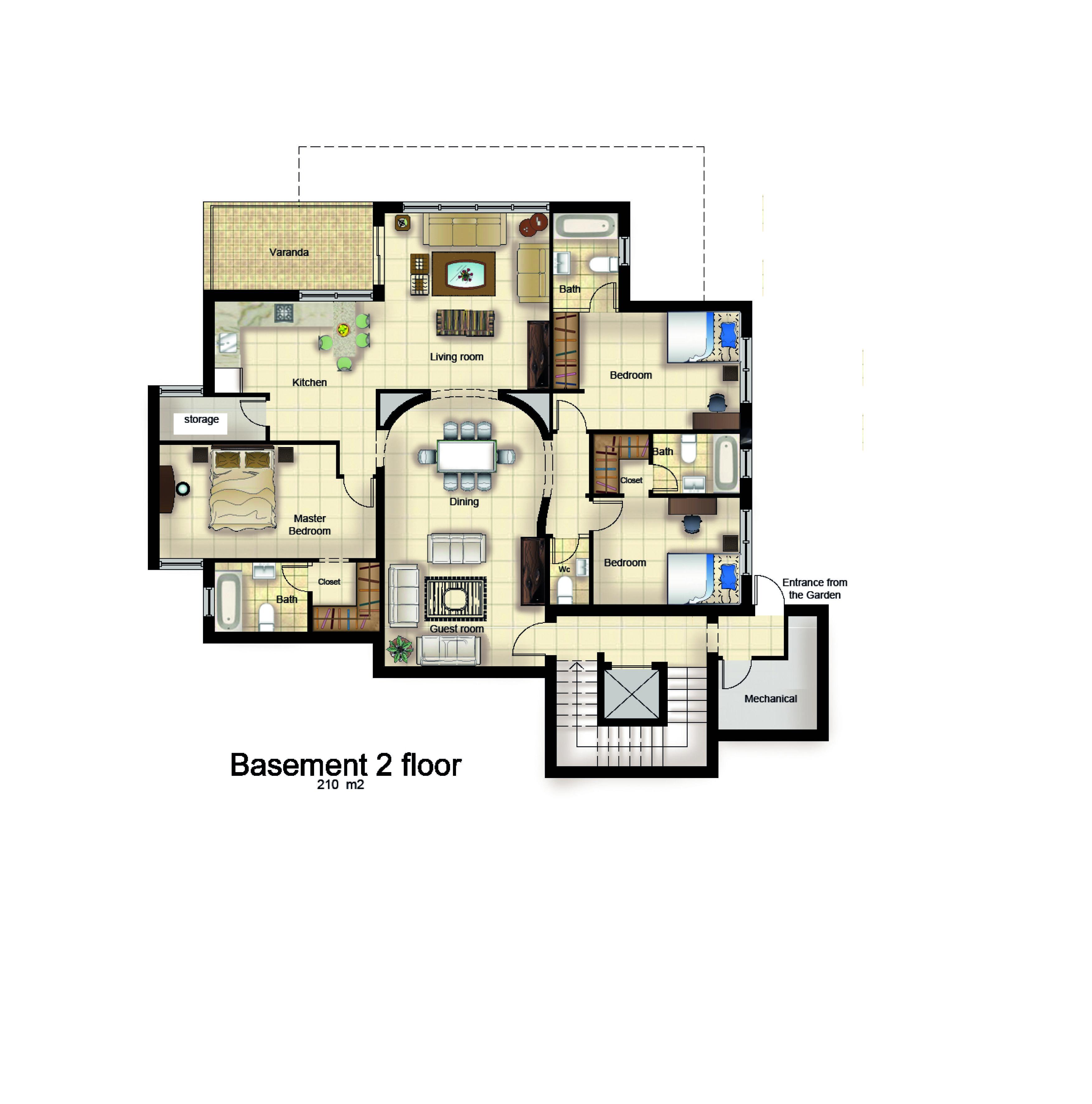Villa Abu Qash Second Basement Plan My Work In Assia Engineering Office Basement Plans Dining Storage Living Storage