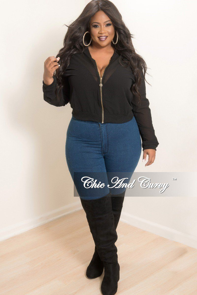 5346a682712 Final Sale Plus Size Mesh Bomber Jacket in Black in 2019