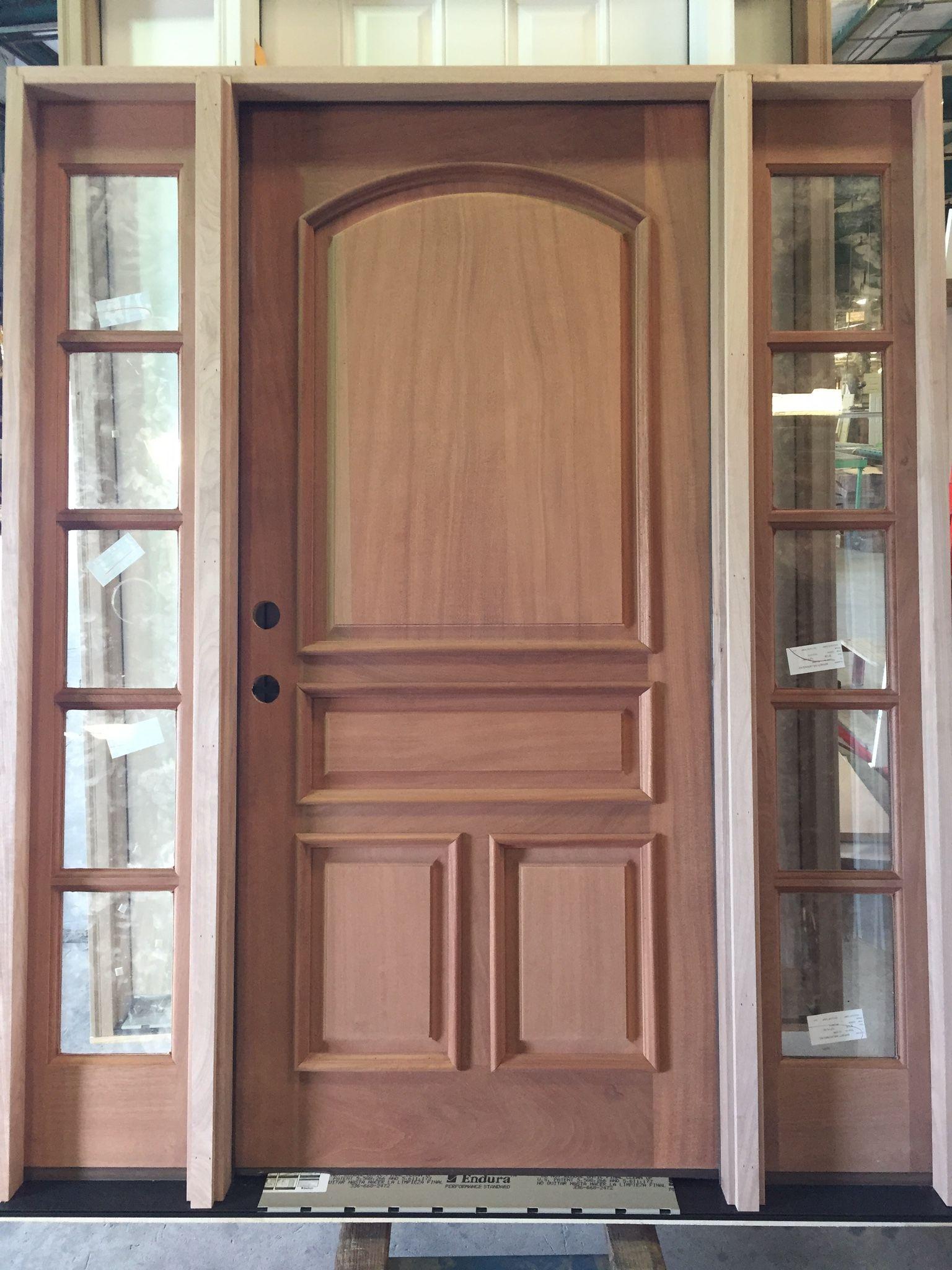 Sapele Mahogany Custom 4 Panel Exterior Door Unit With Raised Moulding  Around The Panels.