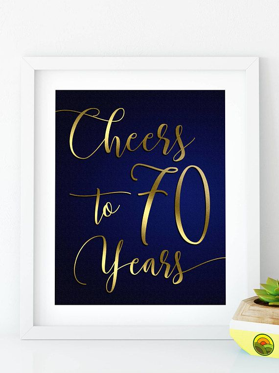Cheers To 70 Years Printable 70th Birthday Decor Navy Gold Banner Party