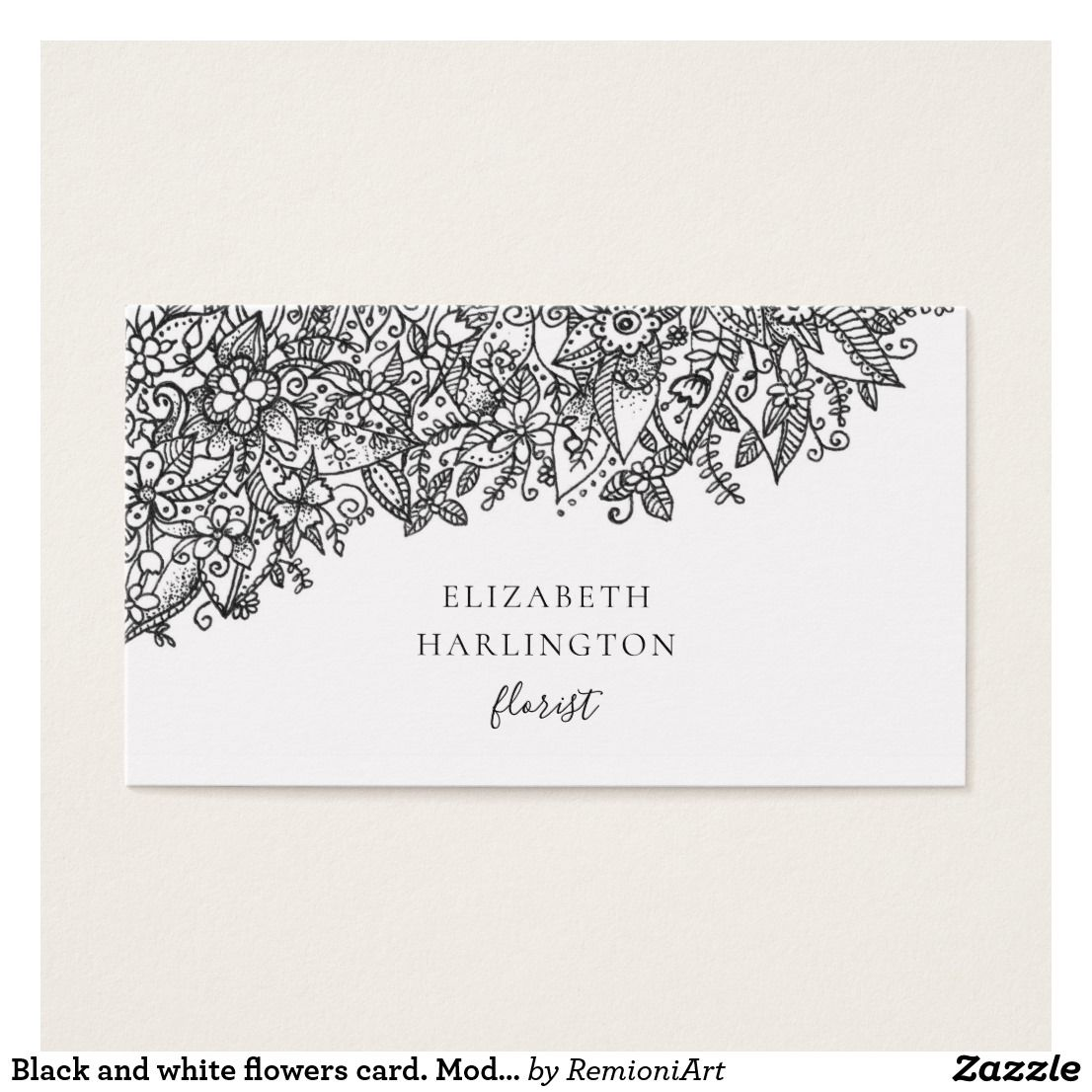 Black And White Flowers Card Modern Botanical Business Card