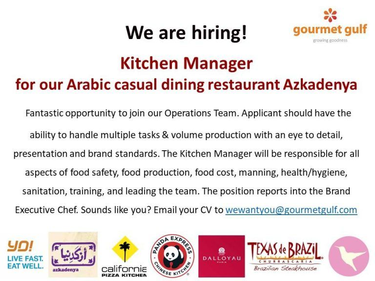 Kitchen manager uae openings casual dining restaurant