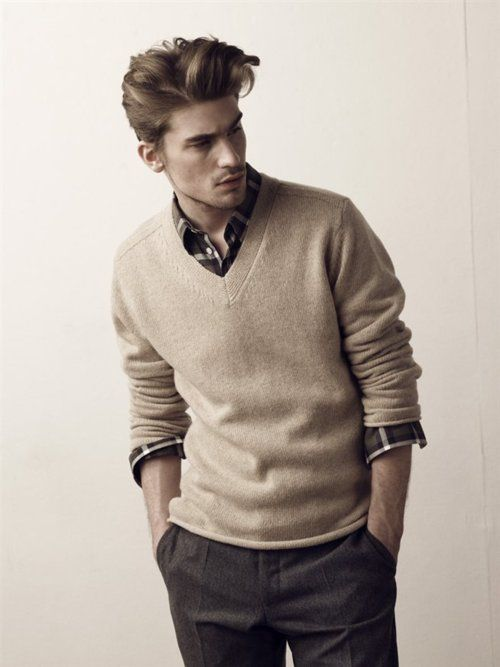 Plaid Button Up Layered Under A Sweater Style For Men Pinterest