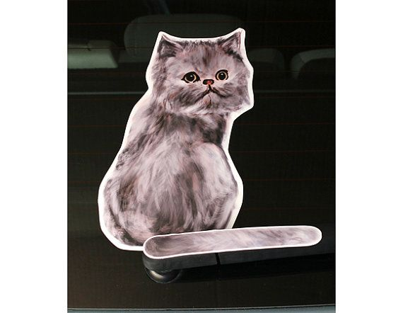 Grey Persian cat rear window wiper wagging tail by WaggingWipers