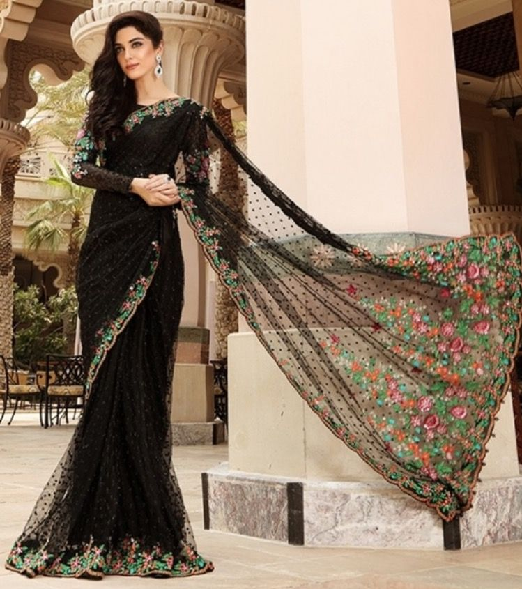 Black Saree for bridals By Maria B