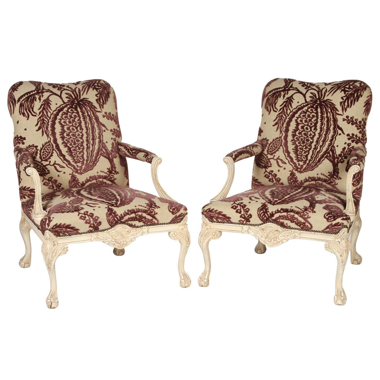 pair of george iii style library chairs | armchairs, manuel