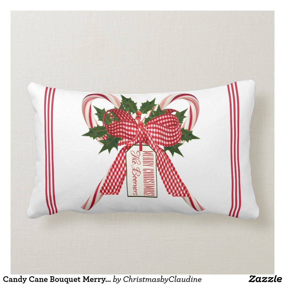 Candy Cane Bouquet Merry Christmas Family Name Lumbar Pillow Zazzle Com In 2020 Merry Christmas Family Throw Pillows Christmas Family Christmas