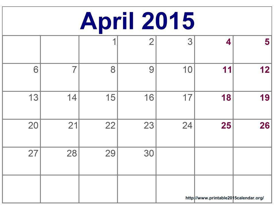 April 2015 Schedule 2015 Printable Calendar Template Images Details