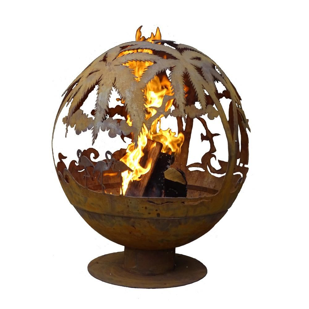 Esschert Design Tropical 32 In X 36 In Round Steel Wood Burning Fire Pit In Rust Ff1016 Wood Burning Fire Pit Fire Pit Wood Burning Fires
