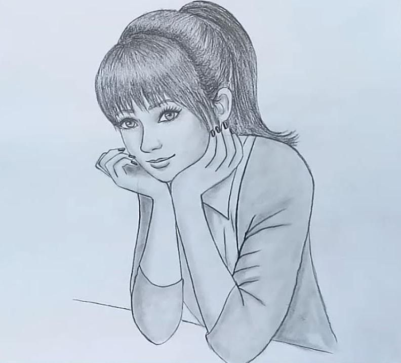 Sketch Of Beautiful Girl Prize_School   Cartoon girl drawing