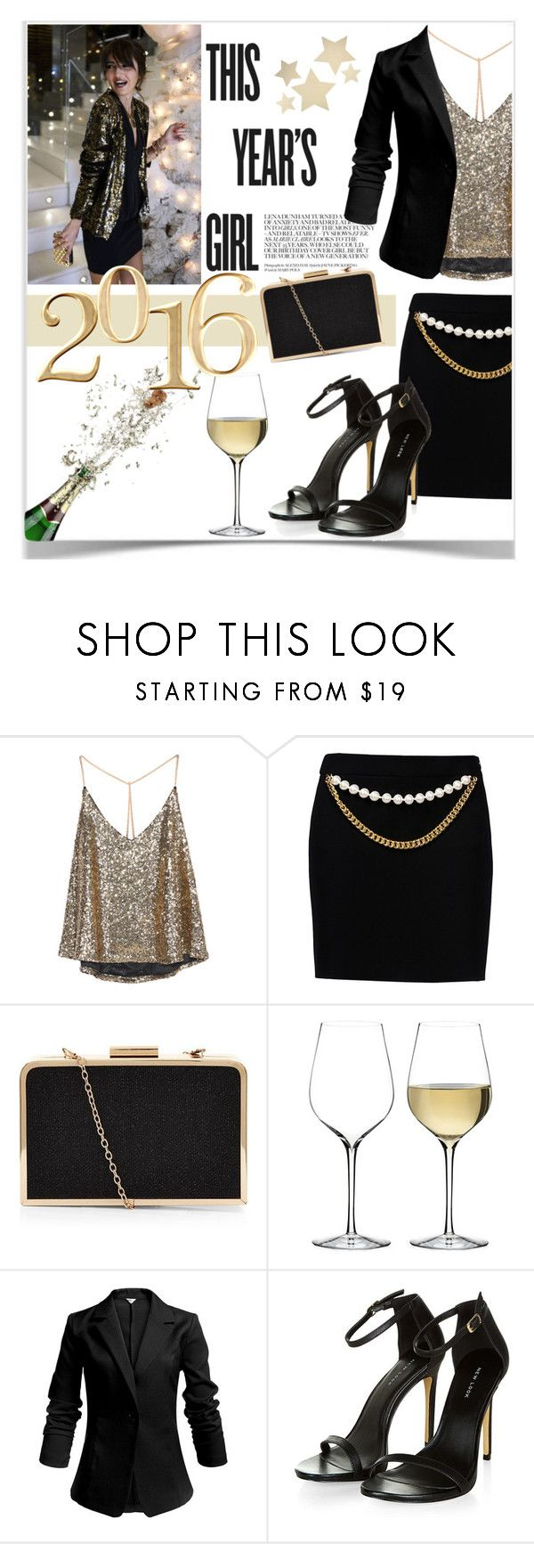 """NYE Dance Party"" by orietta-rose on Polyvore featuring Boutique Moschino, Waterford, Bethany Lowe, nye and nyestyle"