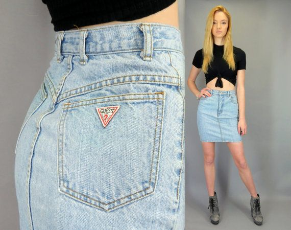 b368af27a4e6d Vintage 80s 90s GUESS High Waisted Blue Jean Mini Skirt Rocker Short Light  Wash Denim Fitted Pencil Normcore Hipster Guess Jeans by Georges Marciano  by ...