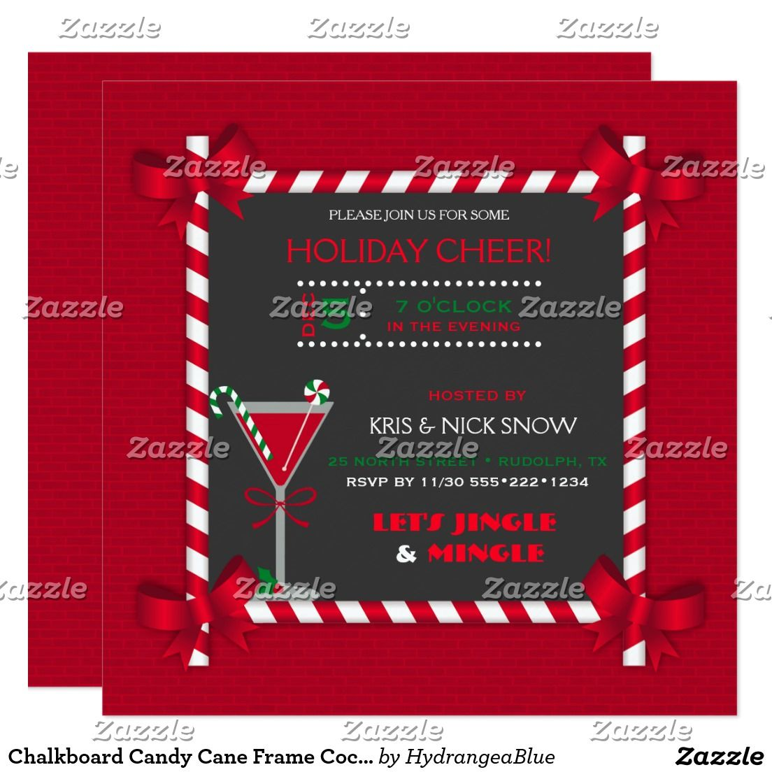 Chalkboard candy cane frame cocktail holiday party card christmas chalkboard candy cane frame cocktail christmas new year holiday party card candy cane framed blackboard look with corner bows and martini cocktail on a m4hsunfo
