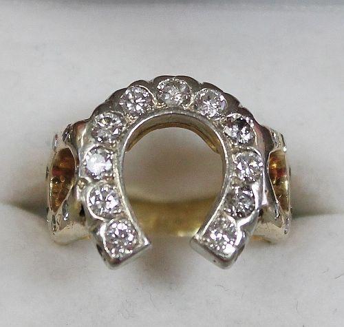jewelry La s 14K TESTED Solid Yellow Gold Diamond Horseshoe