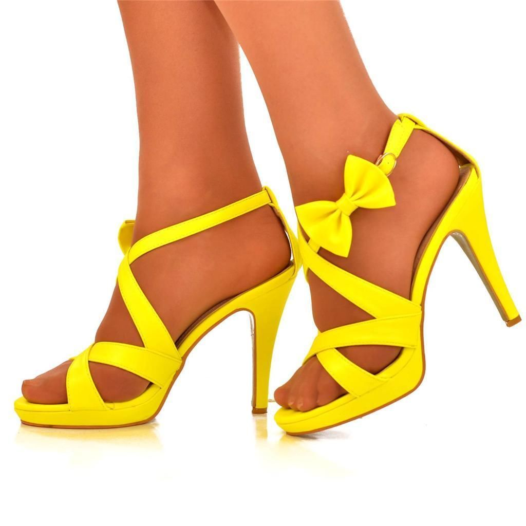 NEW Ladies Size UK 7 Bright Yellow Bow Ankle Strap High Heel ...