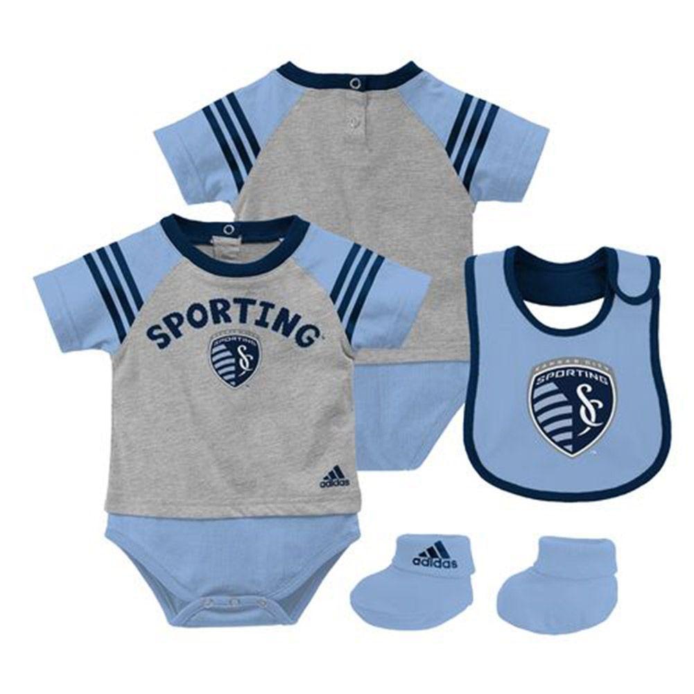 newest 63fd1 c351d MLS Kansas City Sporting Soccer 3 Piece Baby Layette Set