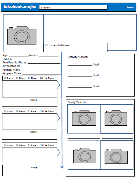 Fakebook Page Created For My Lit Classes Newer Timeline Setup