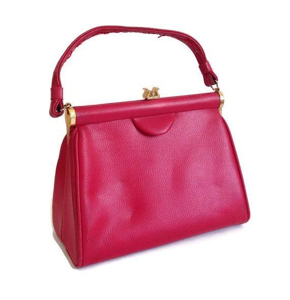 1960 S Red Handbag Top Handle Bag Structured Vinyl Gold Clasp Tone Retro 60 Mad Men