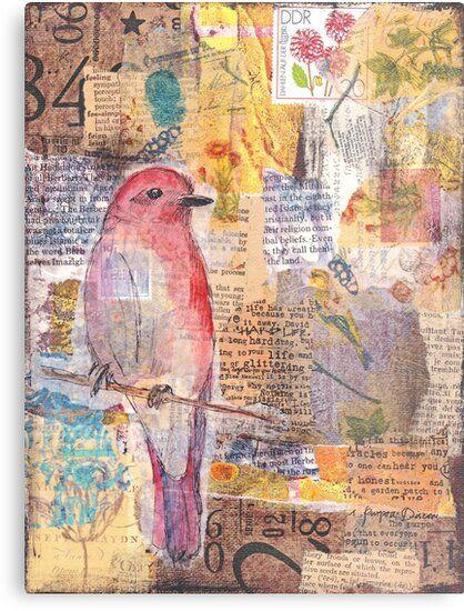 'Mixed media collage bird' Metal Print by Kitty van den Heuvel