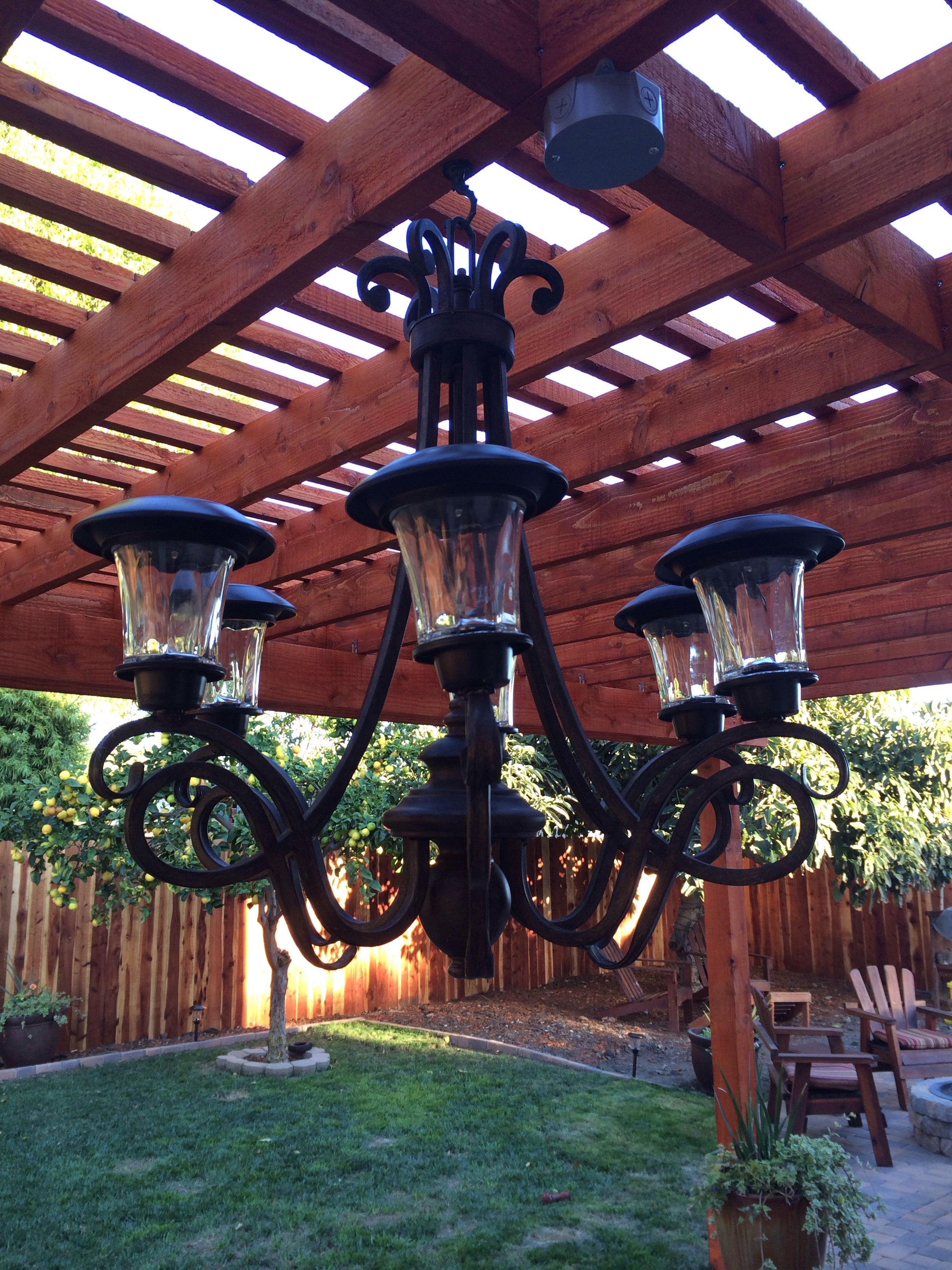 Solar light chandelier made by my friend jayme outdoor solar light chandelier made by my friend jayme arubaitofo Choice Image