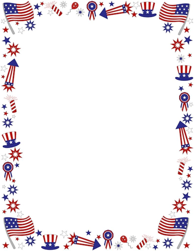 4th of july free printable. Clipart th borders coloring