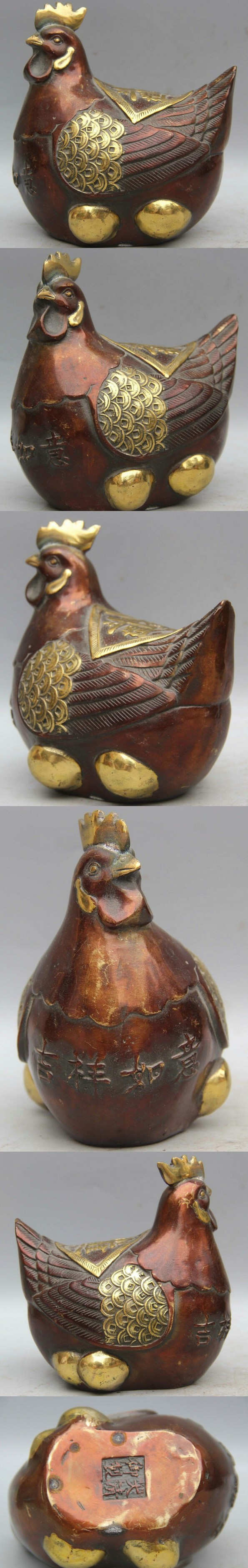 Song voge gem S2462 5 Chinese Fengshui Bronze Gilt Ru Yi Zodiac Year Rooster Cock Wealth Statue $117