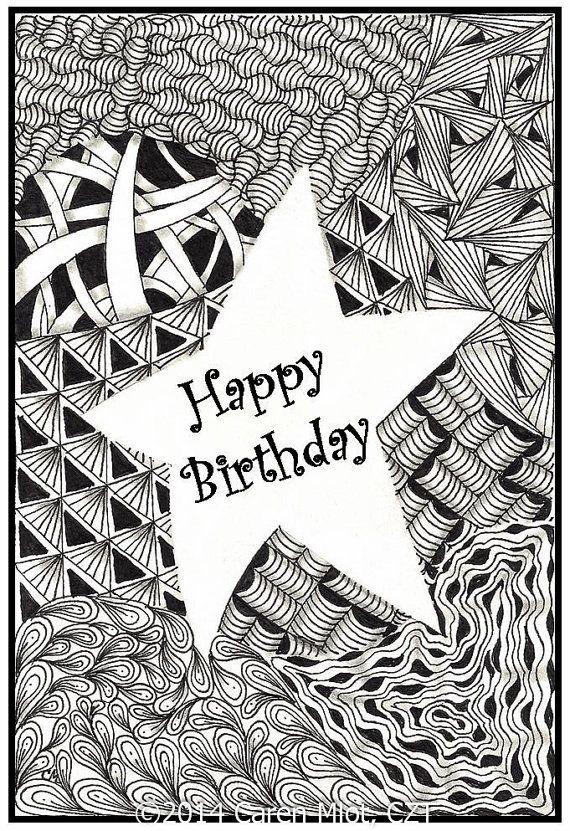 Zentangle Inspired Birthday Cards