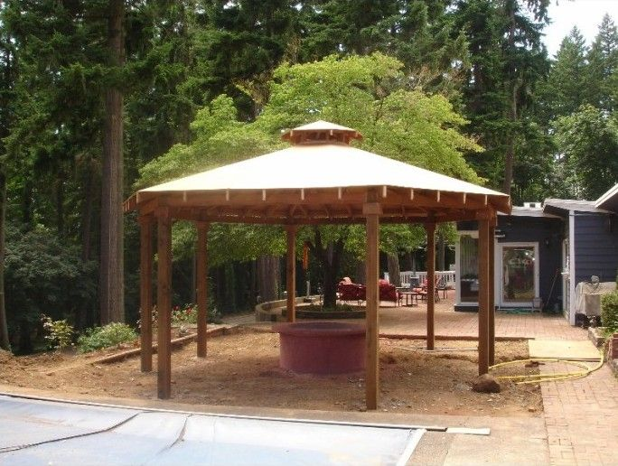Simple Gazebo with Fire Pit   For the Home   Pinterest ...