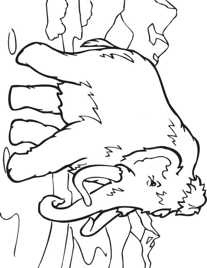 Coloring Pages Of Prehistoric Animals : This coloring page for kids features a wooly mammoth