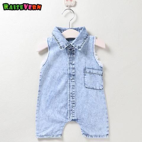 ecd4b236e6eb Raisevern Hot Sale Baby Girl Boy Soft Sleeveless Denim Overalls ...