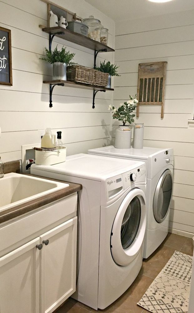 Rustic Laundry Room Reveal Laundry Room Wall Decor Laundry Room Wallpaper Rustic Laundry Rooms