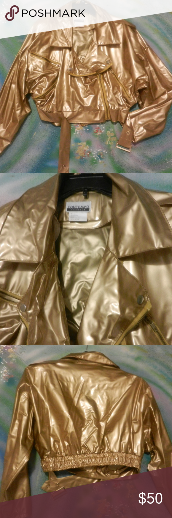 Contempo Casuals Vtg Gold Motorcycle Jacket Vinyl In 2020 Clothes Design Jackets For Women Fashion
