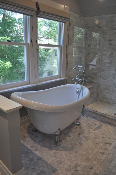 Blank and Baker Beautiful master bathroom with clawfoot tub and - Baos Modernos Con Ducha Y Baera