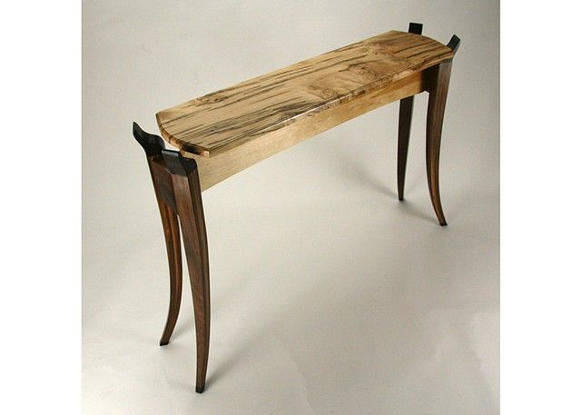 Ambrosia Maple Top Side Table With Bent, Laminated Walnut Legs