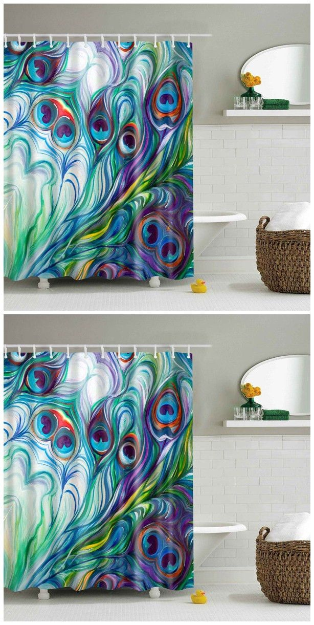 Waterproof Peacock Tail Feather Printed Shower Curtain Peacock
