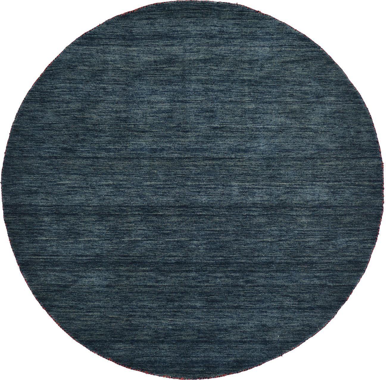 Navy Blue 200cm X 200cm Solid Gabbeh Round Rug Oriental