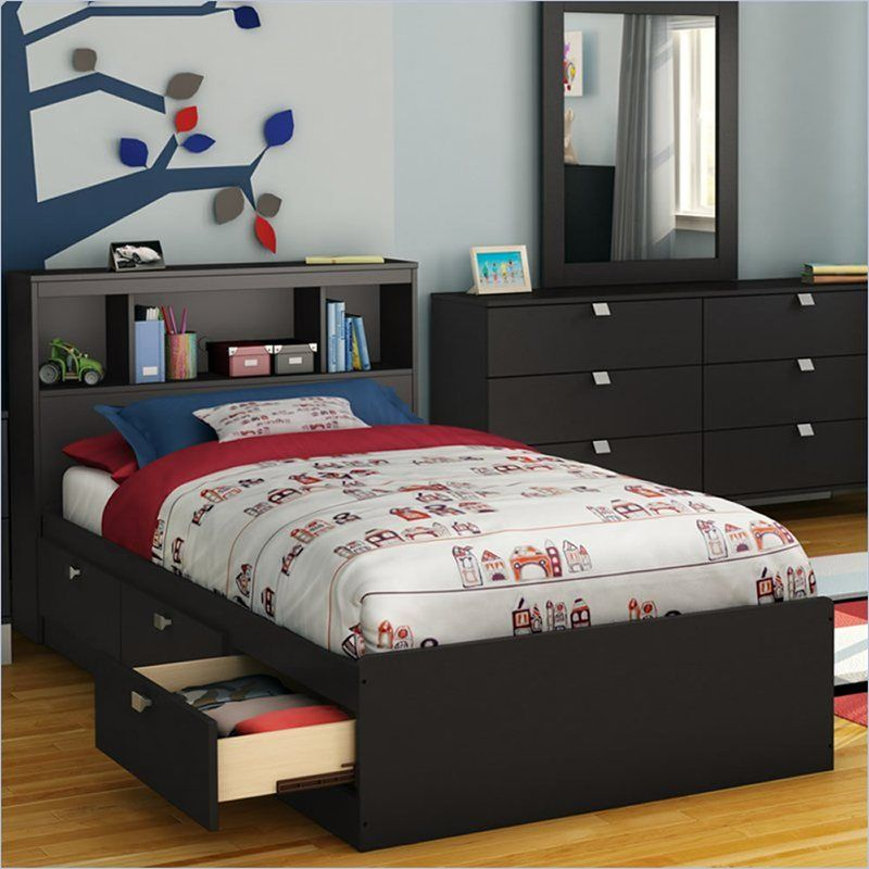 South Shore Spark Twin Mates Bed with Drawers in Pure Black ...