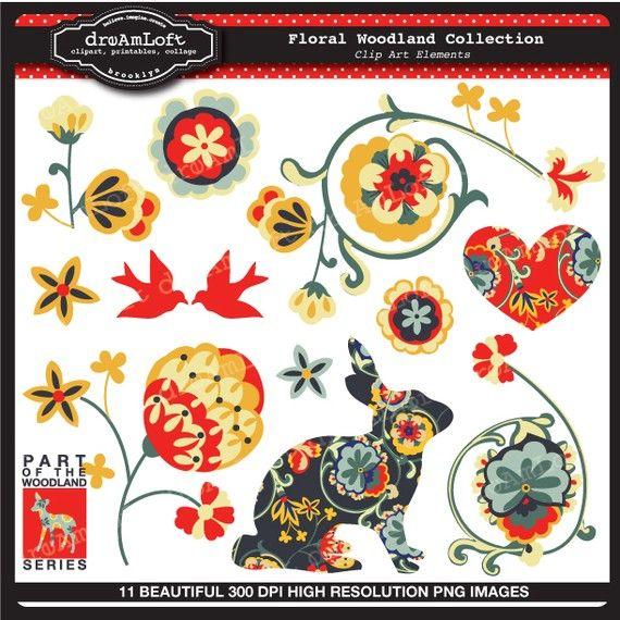 Floreale Woodland raccolta Clipart elementi foglio Collage per carte, stazionario, inviti, scrapbooking e tutti i mestieri di carta